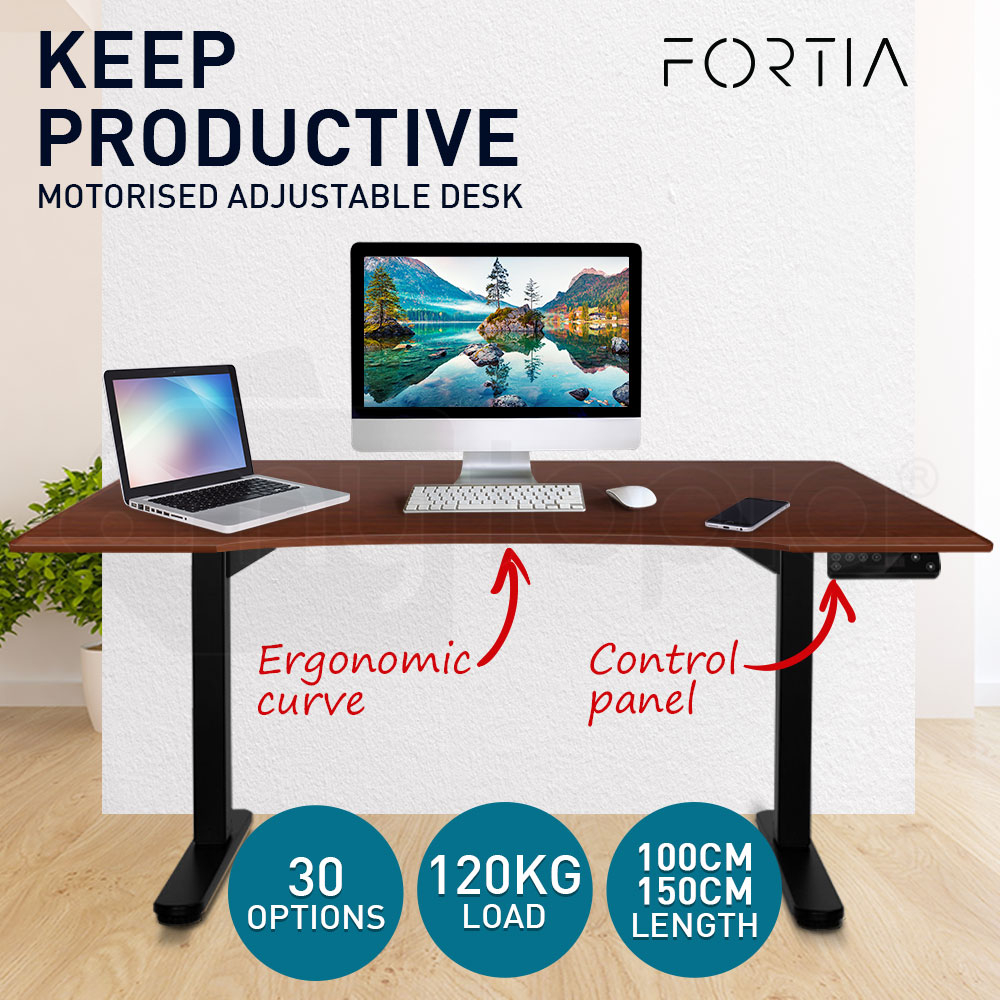 FORTIA Sit/Stand Motorised Curve Height Adjustable Desk 150cm Walnut/Black