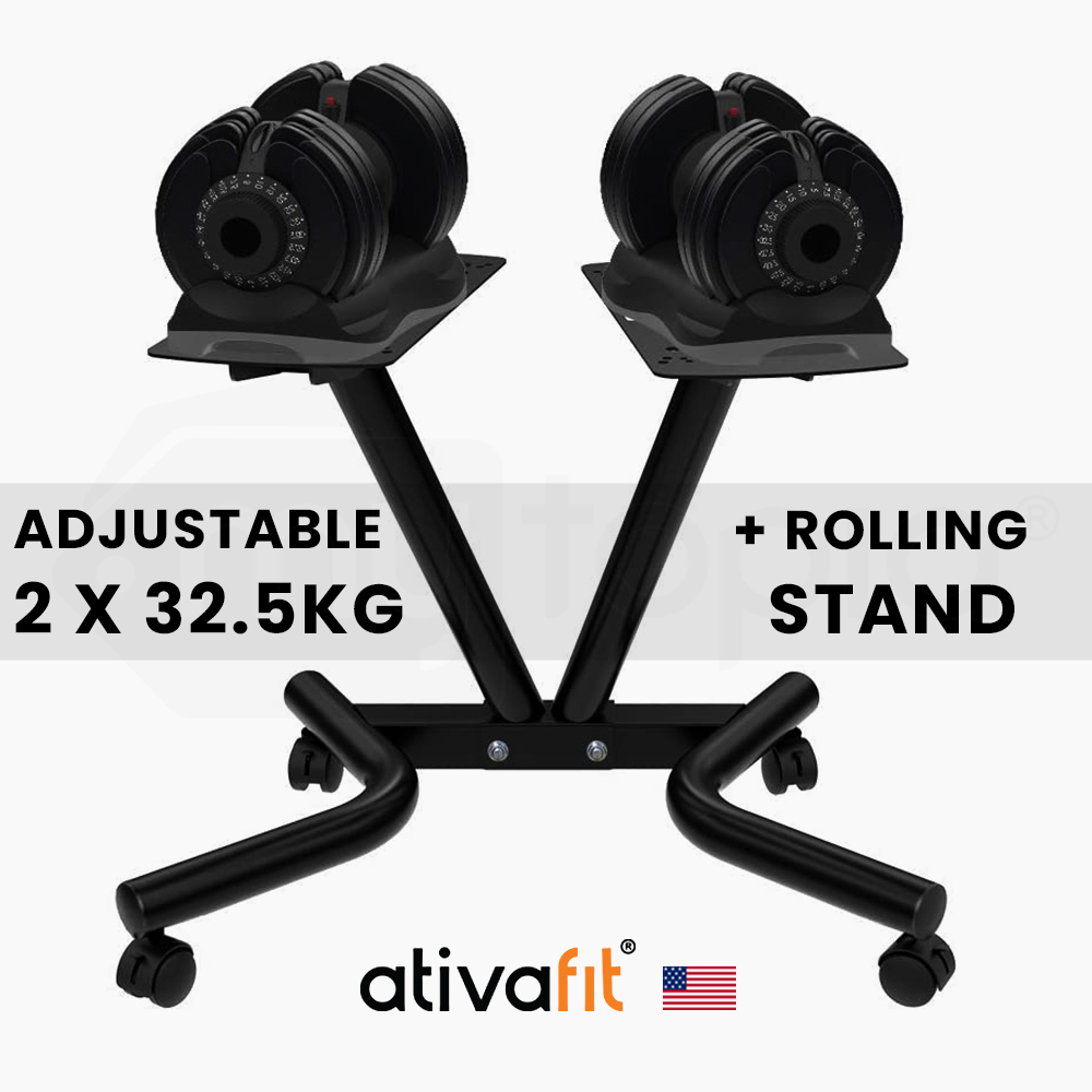 ATIVAFIT 2 x 32.5kg Adjustable Weight Dumbbell Set with Rolling Stand, for Home Gym Fitness Training