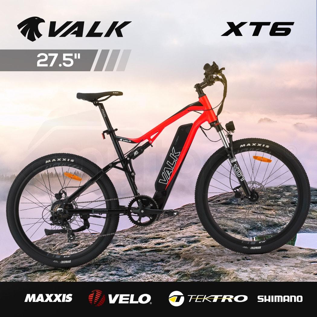 VALK XT6 Electric Dual Suspension Mountain e-Bike, Medium Frame, Tektro Brakes, Maxxis Tyres, Velo Saddle, Shimano Gears, Black & Red