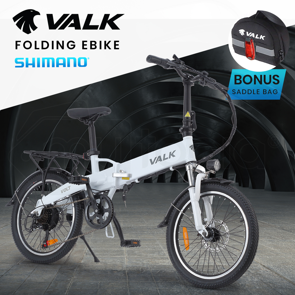 VALK Volt 36V 250W Folding Electric e-Bike, Alloy Frame, Disc Brakes, LED Lights, White