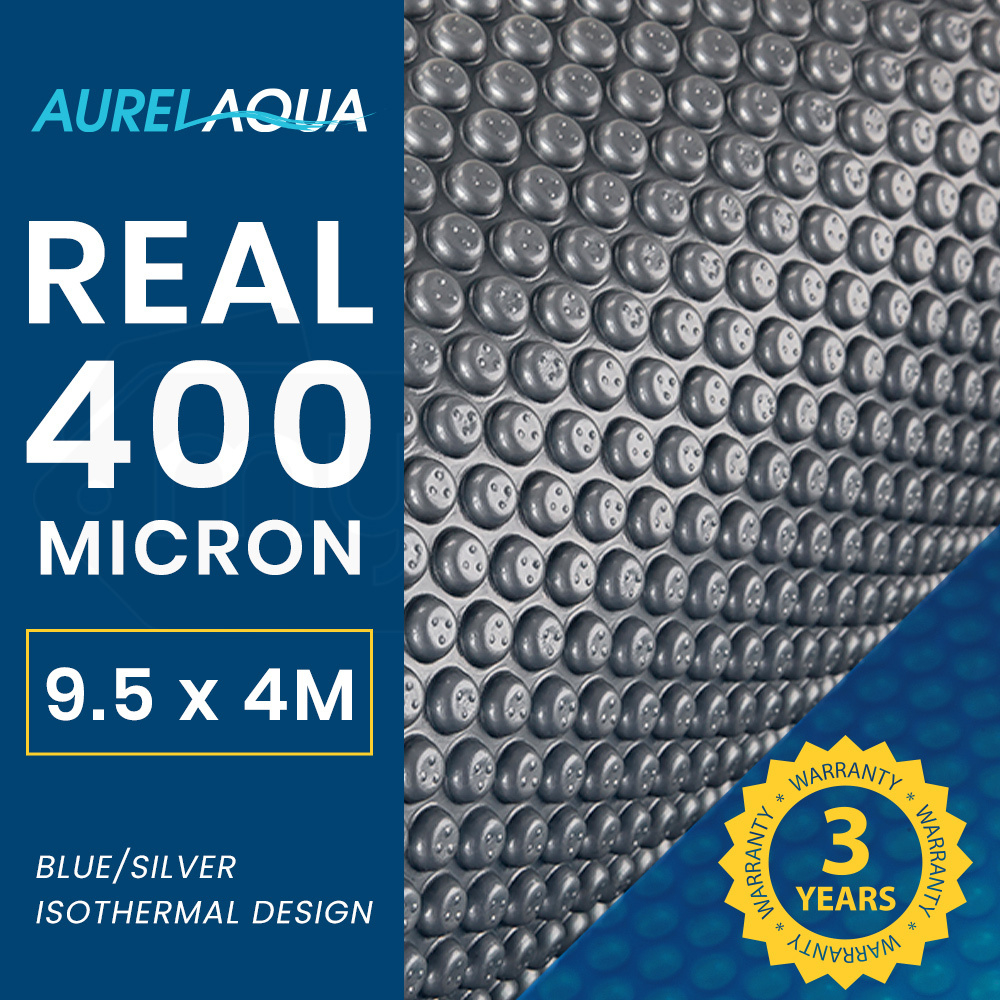AURELAQUA 400 Micron 9.5x4m Solar Thermal Blanket Swimming Pool Cover, Blue and Silver