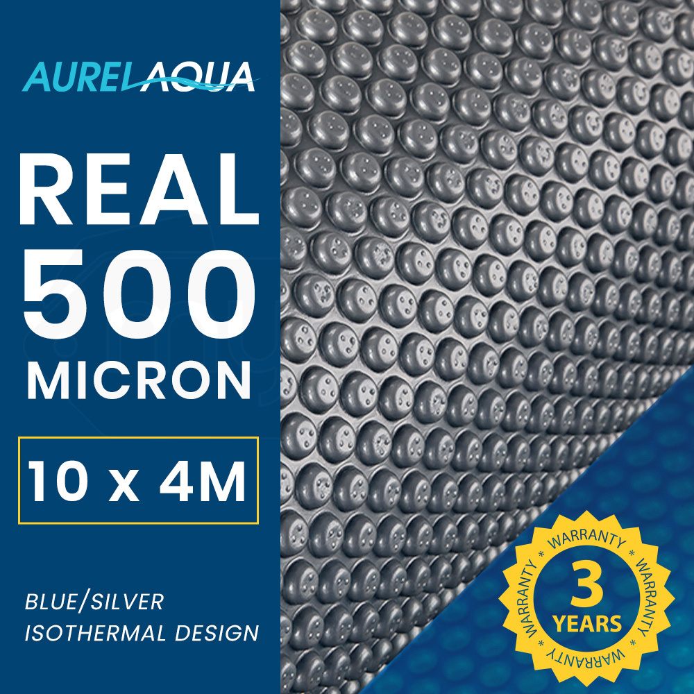 AURELAQUA 500 Micron 10x4m Solar Thermal Blanket Swimming Pool Cover, Blue and Silver