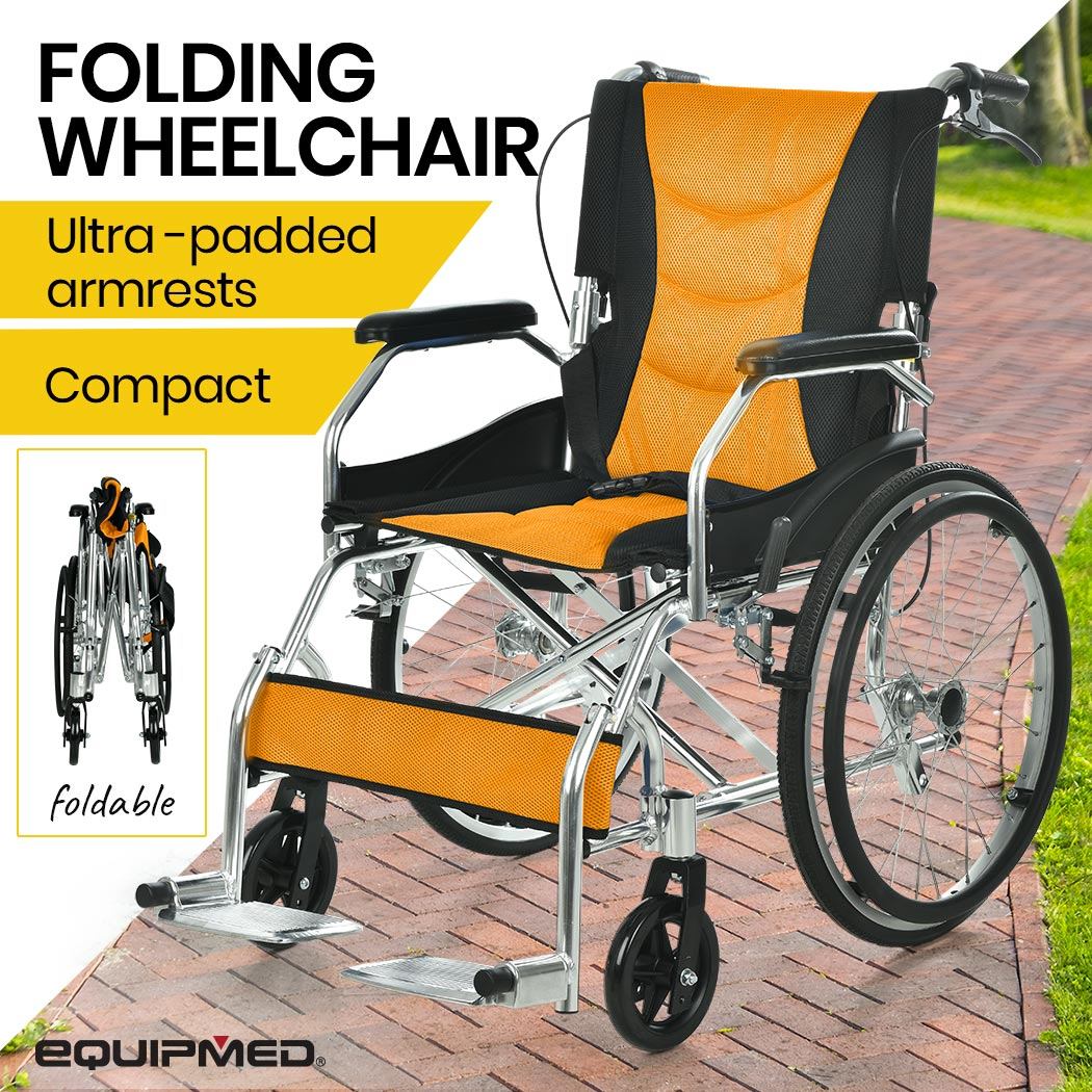 """PRE-ORDER EQUIPMED 20"""" Folding Wheelchair with Brakes and Foldable Backrest, Orange and Black"""