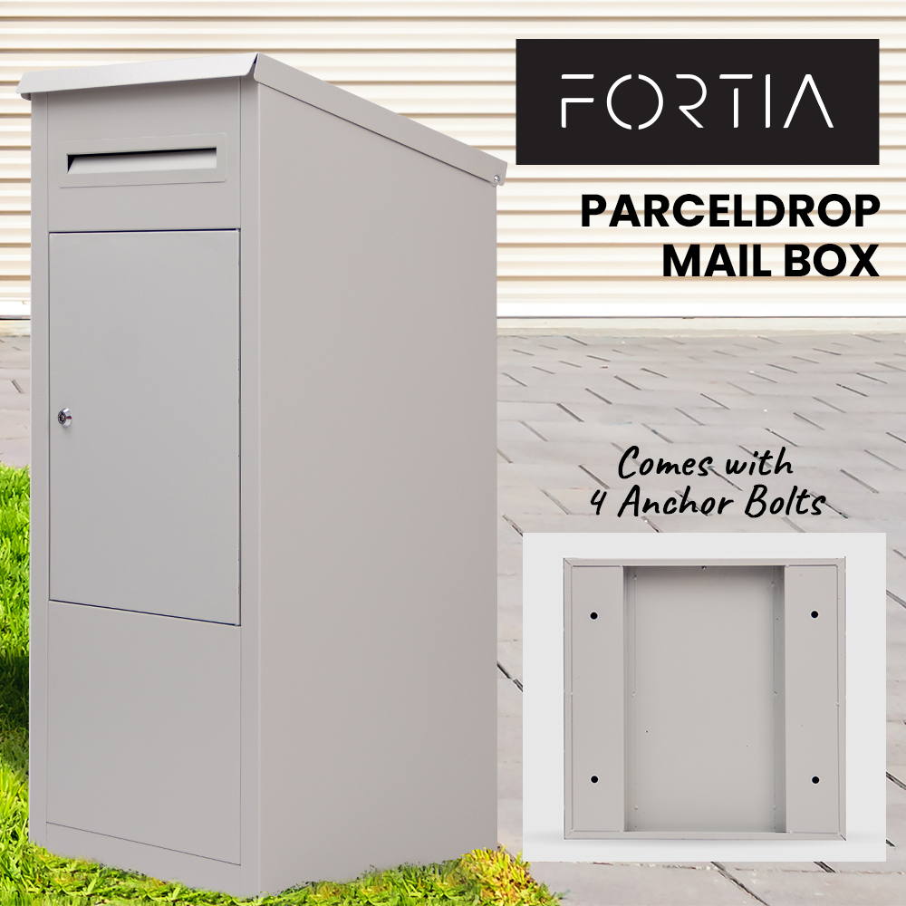 FORTIA Home Pillar Parcel Drop Letter box for Mail and Large Packages, Off White