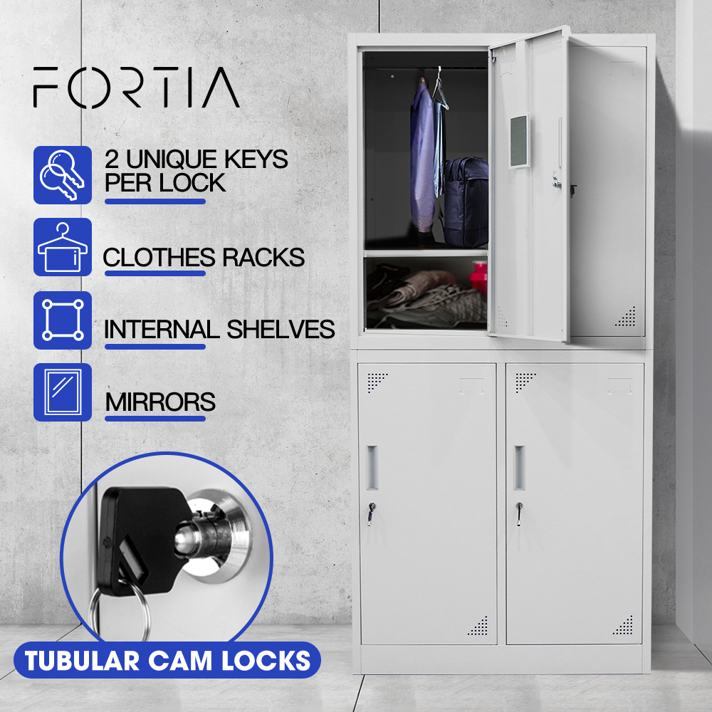 FORTIA 4-Door Metal Gym Storage Lockers, Cam Locks, Clothes Racks, Mirrors, Grey