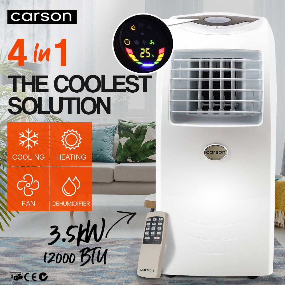 CARSON 4in1 Portable Air Conditioner Reverse Cycle Heater Dehumidifier 12,000BTU