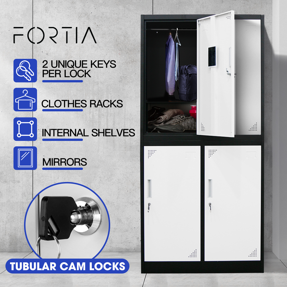 FORTIA 4-Door Metal Gym Storage Lockers, Cam Locks, Clothes Racks, Mirrors, Black and Light Grey