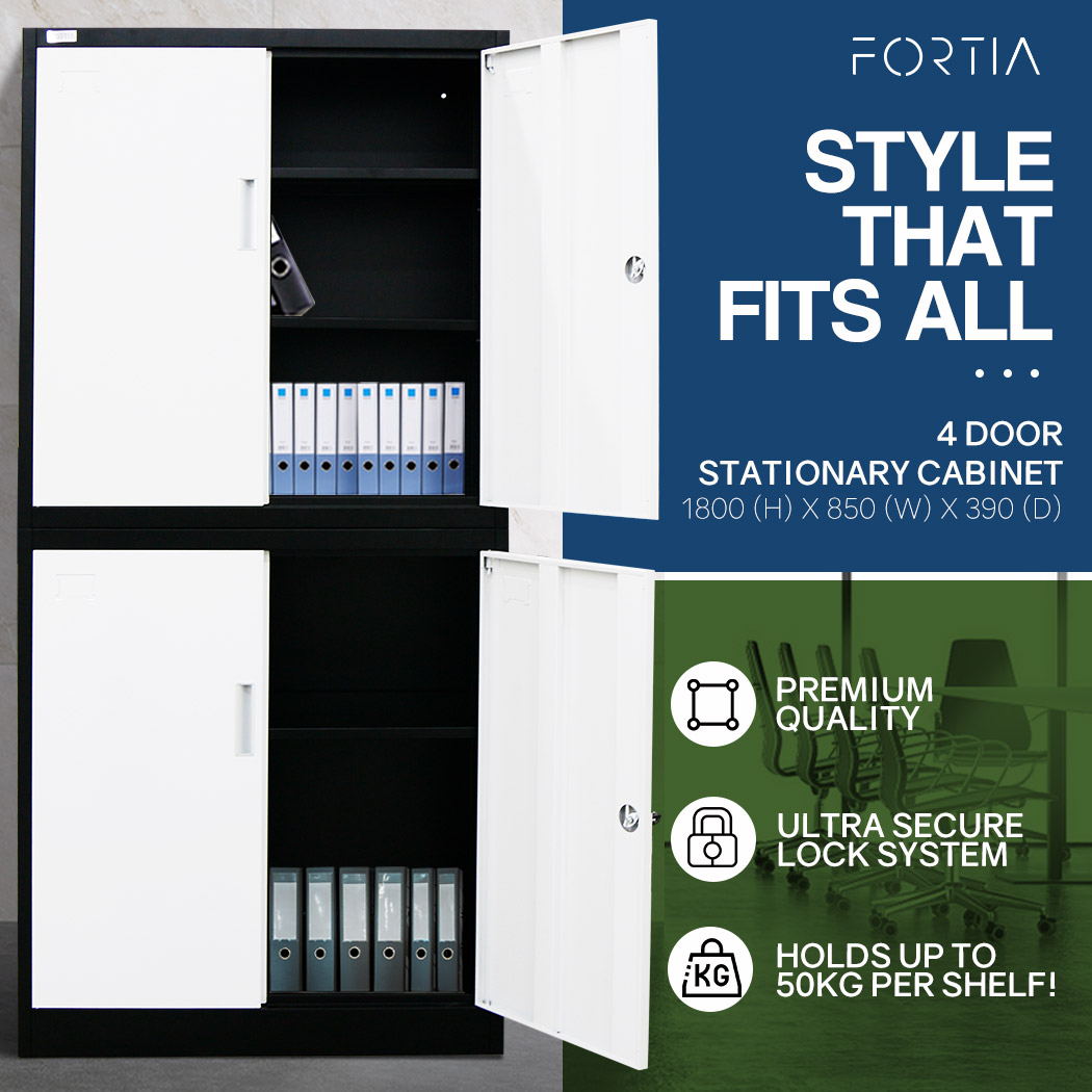 FORTIA 4-Door Steel Stationary Cabinet, Cam Locks, Shelves, Black and White