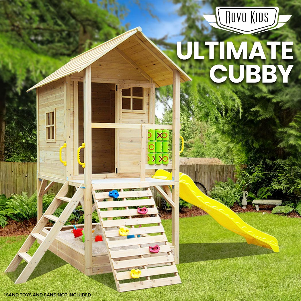 ROVO KIDS Wooden Tower Cubby House w/ Slide, Sandpit, Climbing wall, Noughts & Crosses