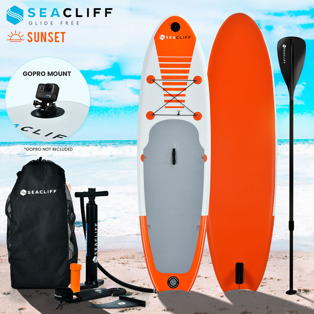PRE-ORDER SEACLIFF 300cm Inflatable SUP Stand Up Paddleboard with GoPro Mount, White and Orange