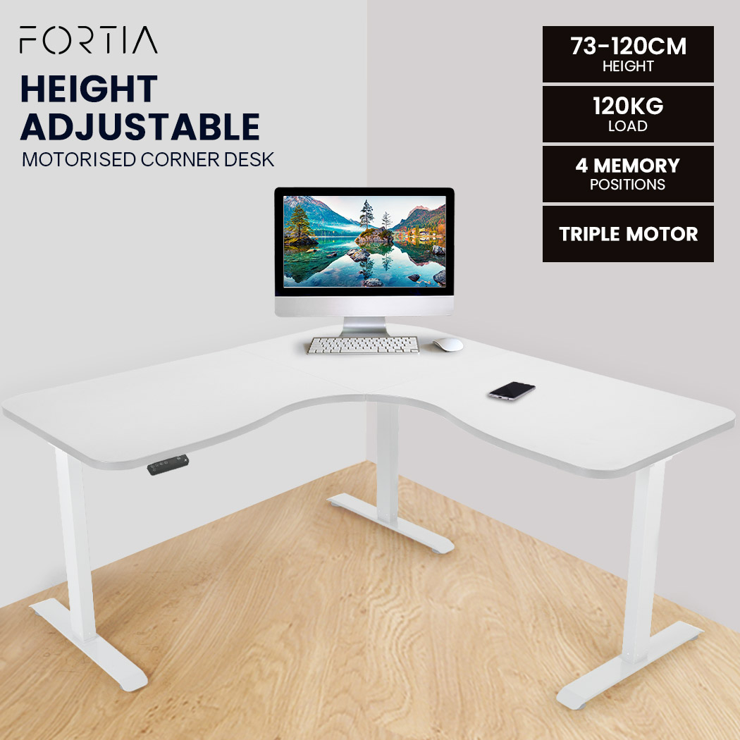 FORTIA Height Adjustable Standing Corner Desk Sit Stand Electric Motorised Office White Frame