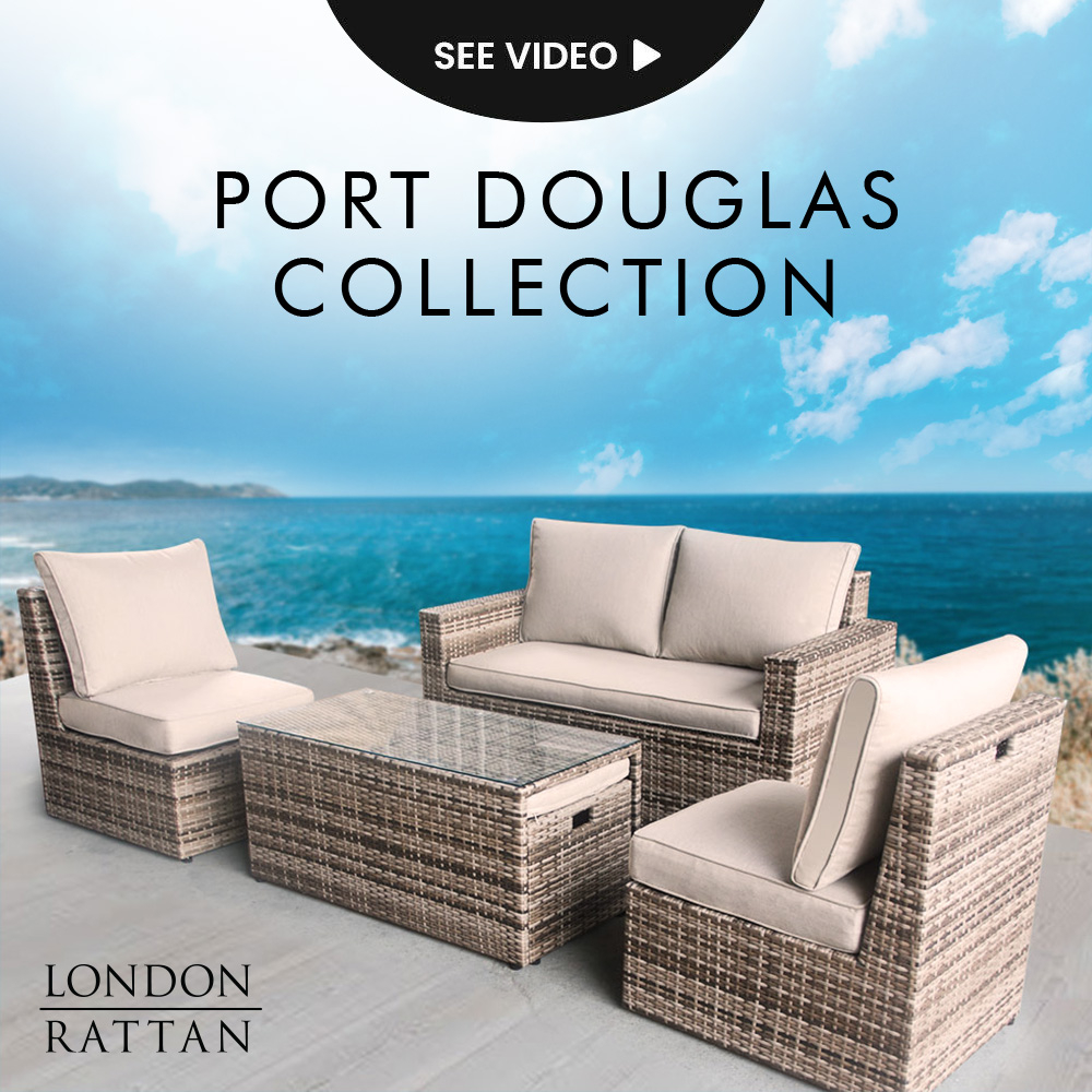 LONDON RATTAN 6pc Outdoor Furniture Wicker Lounge Set with Coffee Table & Chairs Ottomans