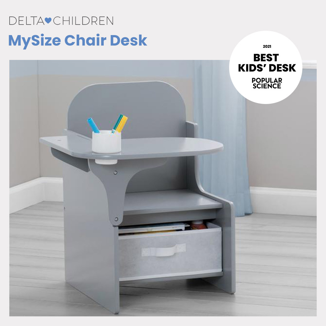 DELTA CHILDREN Kids Furniture Chair Desk with Storage, Grey