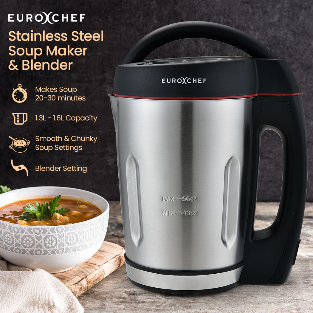 PRE-ORDER EUROCHEF Soup Maker and Blender, Self-Cleaning, Stainless Steel