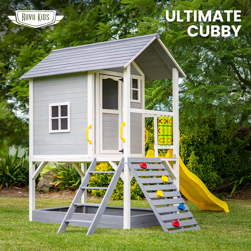 Wooden Tower Cubby House w/ Slide, Sandpit, Climbing wall, Noughts & Crosses