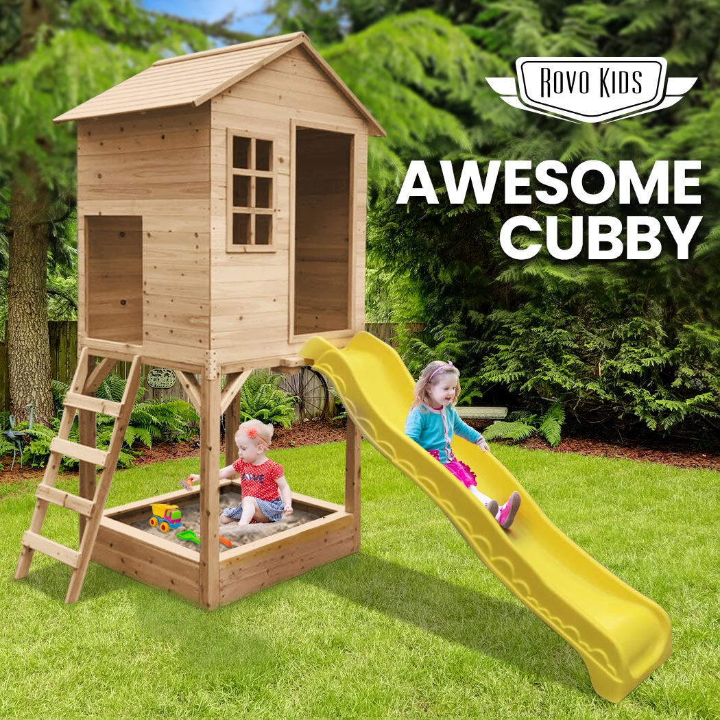 Wooden Tower Cubby House w/ Slide & Sandpit - Natural