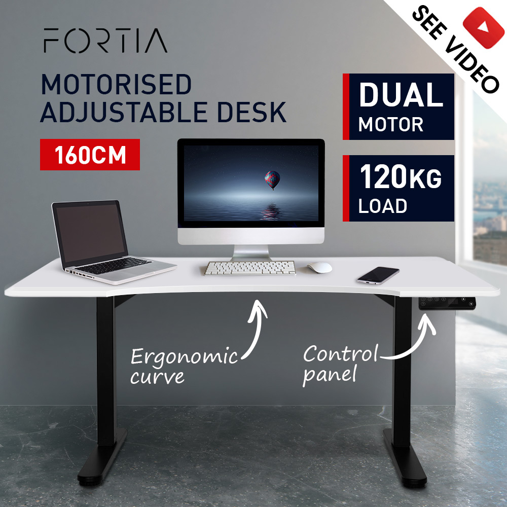 FORTIA Matte White/Black 160cm Sit Stand Curve Height Adjustable Standing Desk