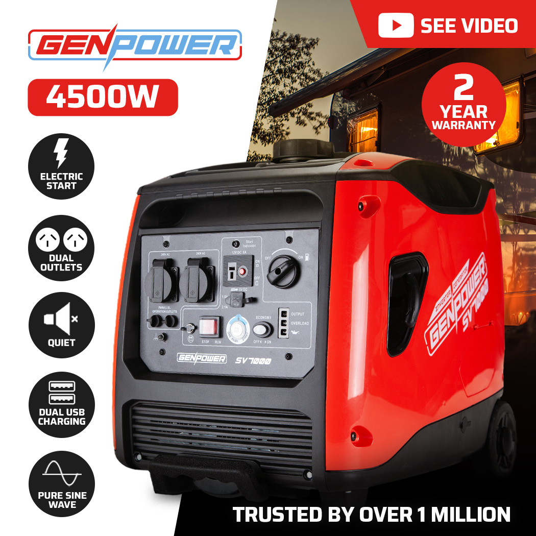 GENPOWER Inverter Petrol Generator 4500 Watts Max 3500 Watts Rated Portable for Motorhome, Camping, Building