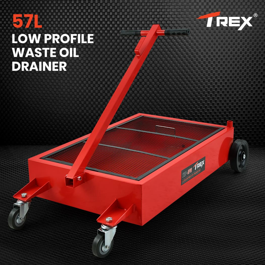 TREX 57L Low Profile Mobile Waste Oil Drainer, Pan Style, for Trucks, Workshop