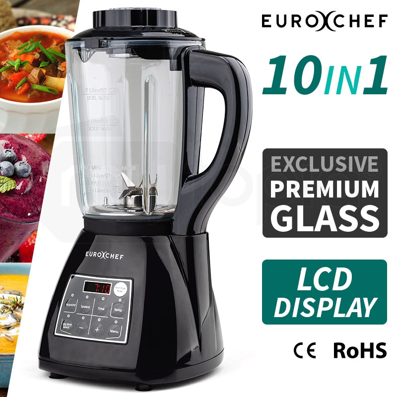 EUROCHEF 10in1 Soup Maker Electric Machine with Glass Jug Blender Smoothie Maker Black