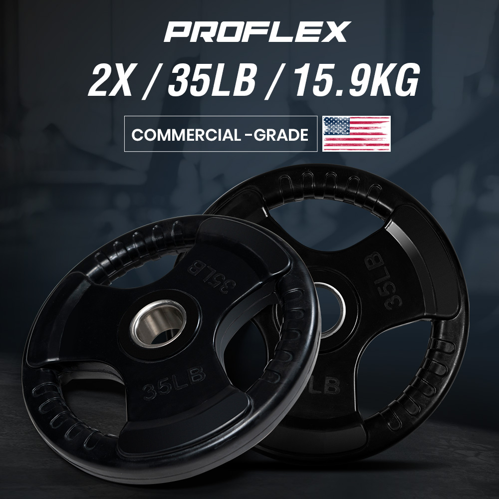 PROFLEX Pair of 35lb Rubber-Coated Olympic Weight Plates for Gym Home Fitness Bodybuilding Weights Training