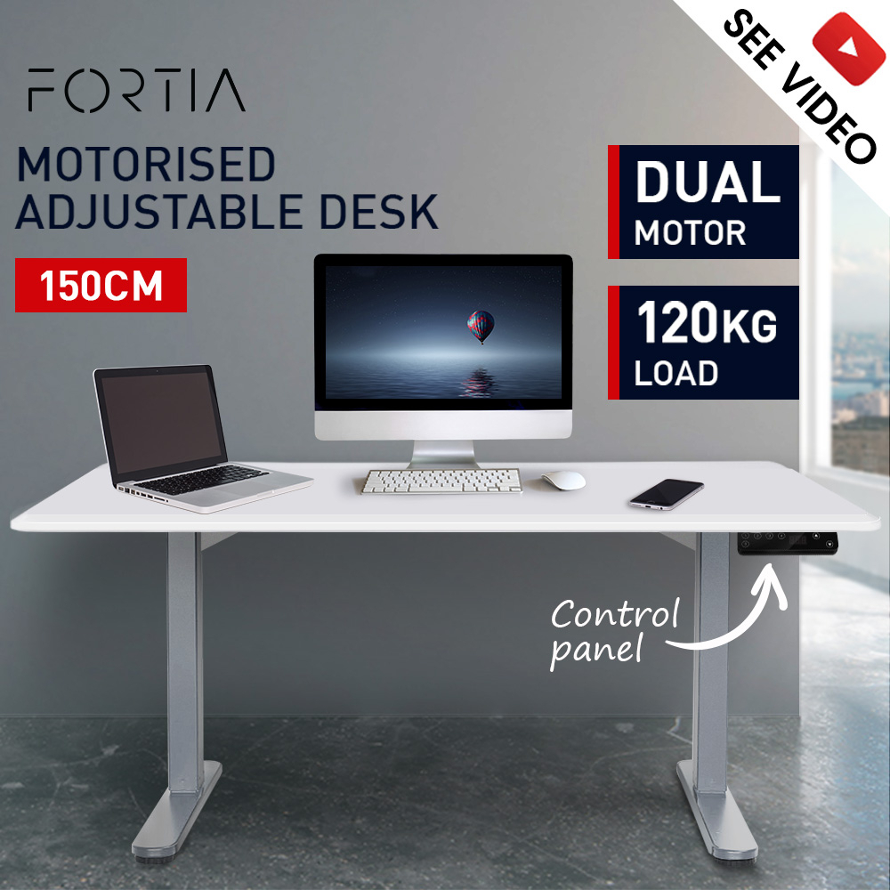 FORTIA Sit Stand Up Motorised Office Desk 150cm - White & Silver Frame