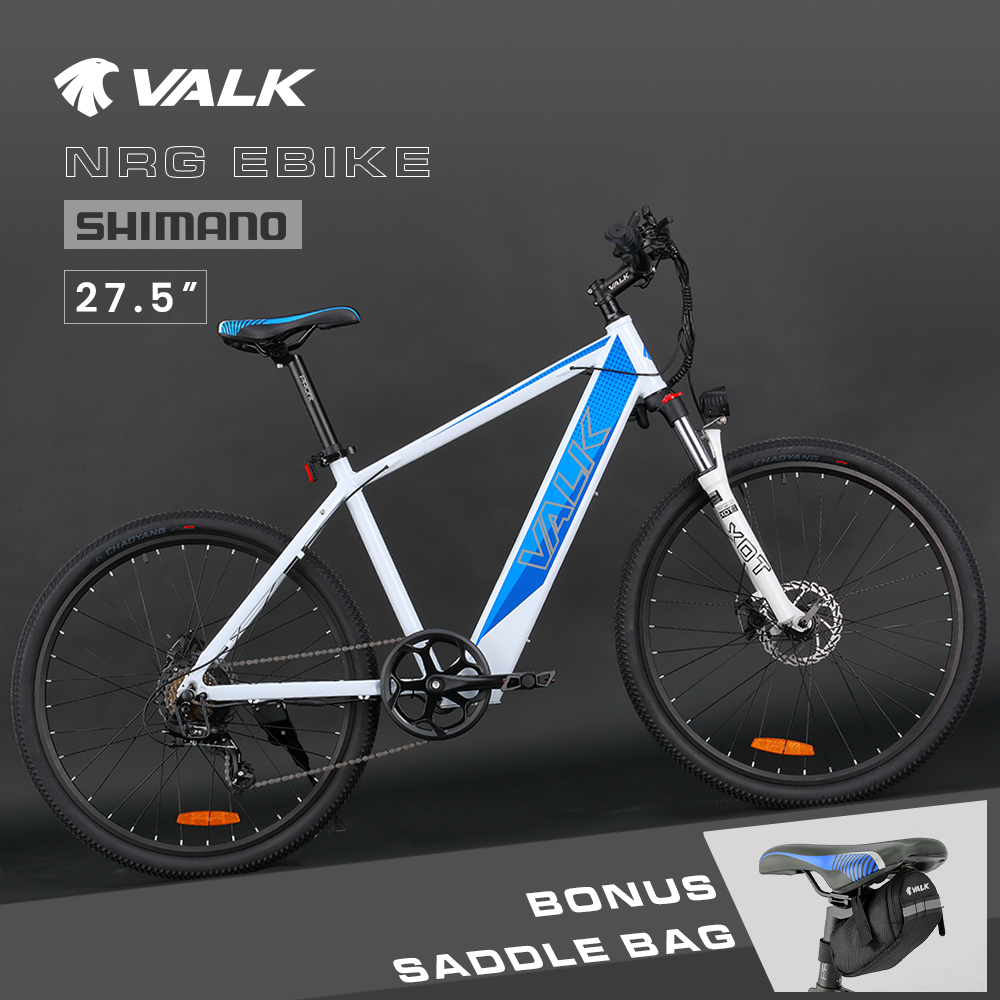 """VALK 27.5"""" Electric Hardtail Mountain e-Bike, Shimano, Integrated 36V 250W Battery, Disc Brakes, White and Blue"""