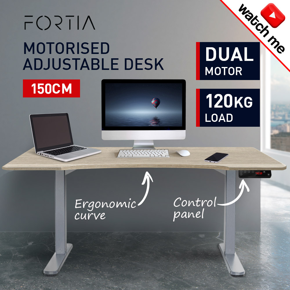 FORTIA Sit Stand Electric Height Adjustable Desk 150cm Curved Design White Oak/Silver