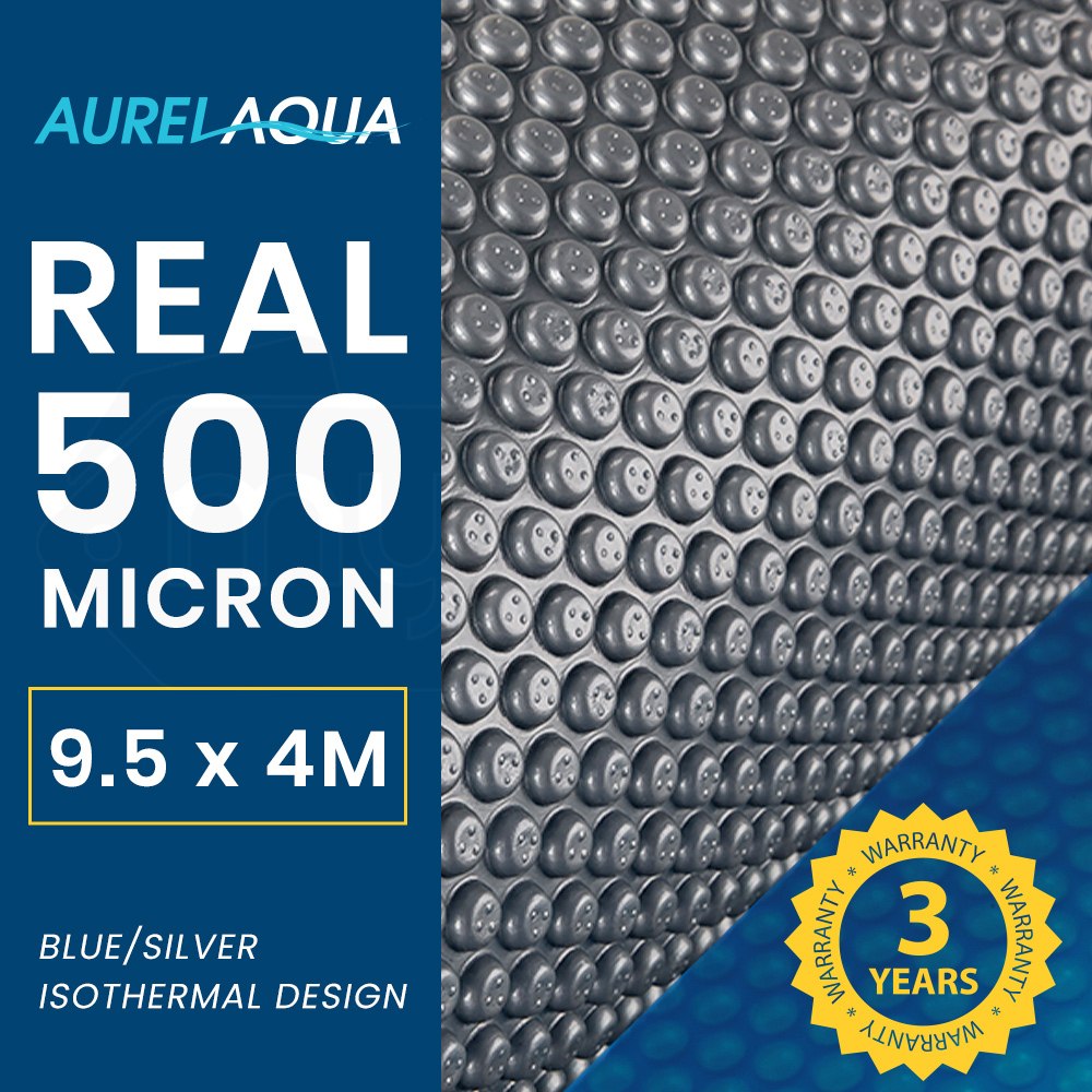 AURELAQUA 500 Micron 9.5x4m Solar Thermal Blanket Swimming Pool Cover, Blue and Silver