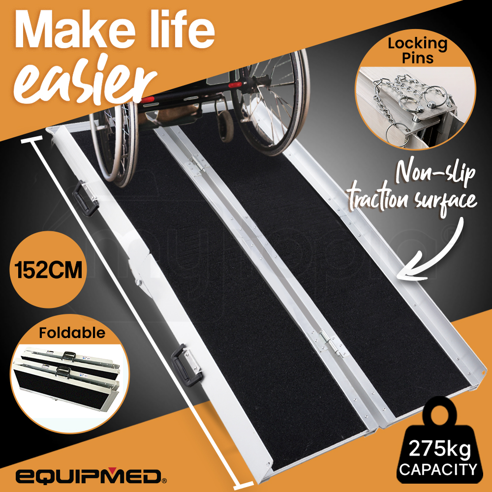 EQUIPMED 152cm Portable Folding Aluminium Access Ramp, Black Ultra-Grip, for Wheelchair, Mobility Scooter