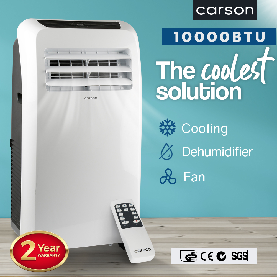 CARSON Portable Air Conditioner - Mobile Fan Cooler Dehumidifier Aircon