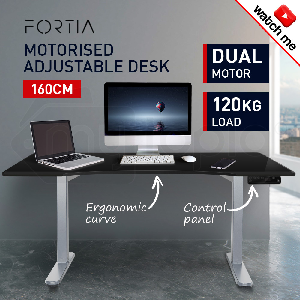 FORTIA Sit/Stand Motorised Curve Height Adjustable Desk 160cm Black/Silver