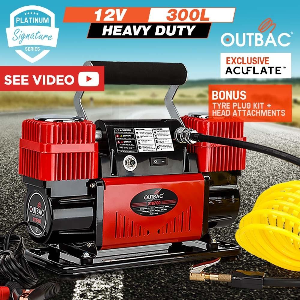 OUTBAC Portable Air Compressor 100PSI 12V 300L Tyre Deflator - OTB700