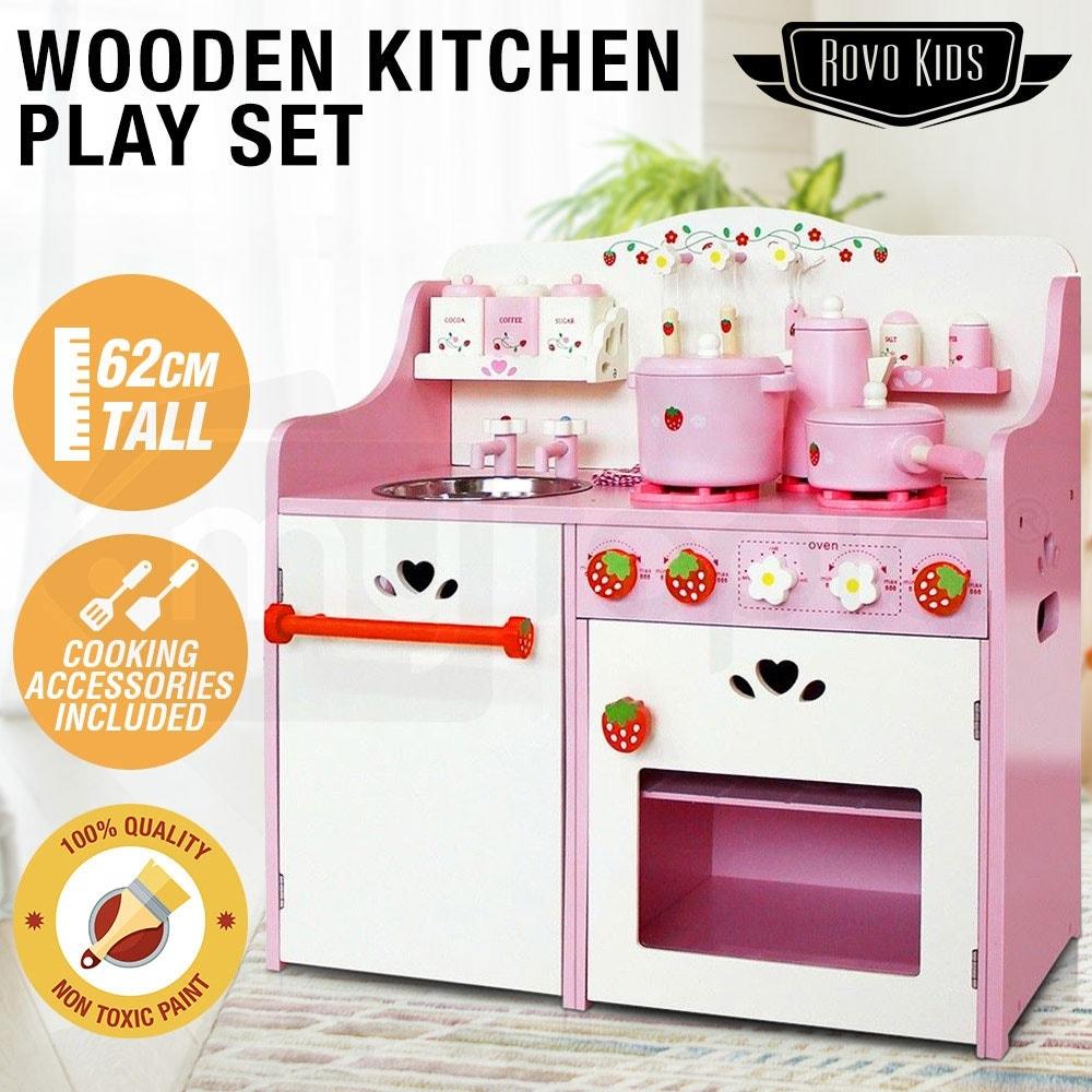 ROVO KIDS Wooden Pretend Kitchen Role Play Set Toy Children Cookware Toddler