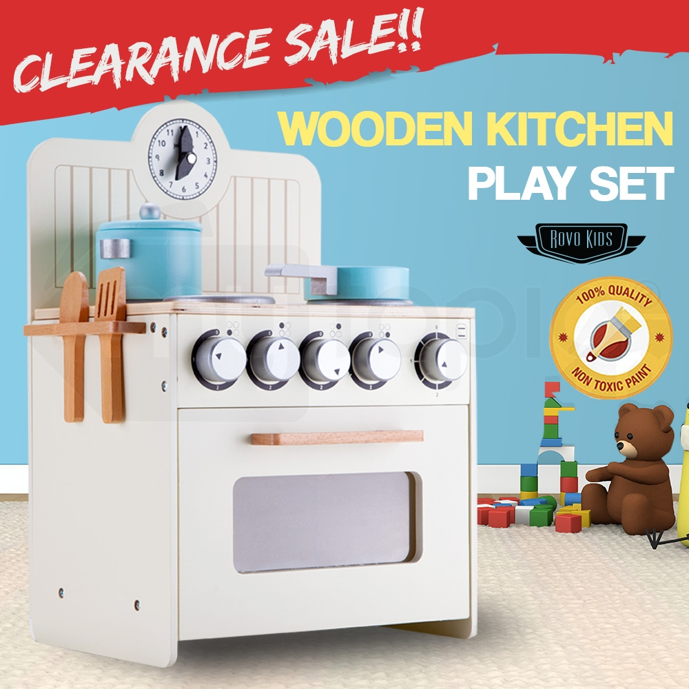 ROVO KIDS Retro Wooden Kitchen Toy Pretend Play Set Children Wood Oven Toddlers