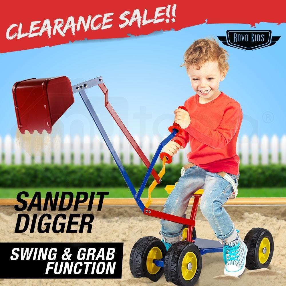 ROVO KIDS Ride On Sandpit Digger Excavator Metal Outdoor Children Toy Wheels