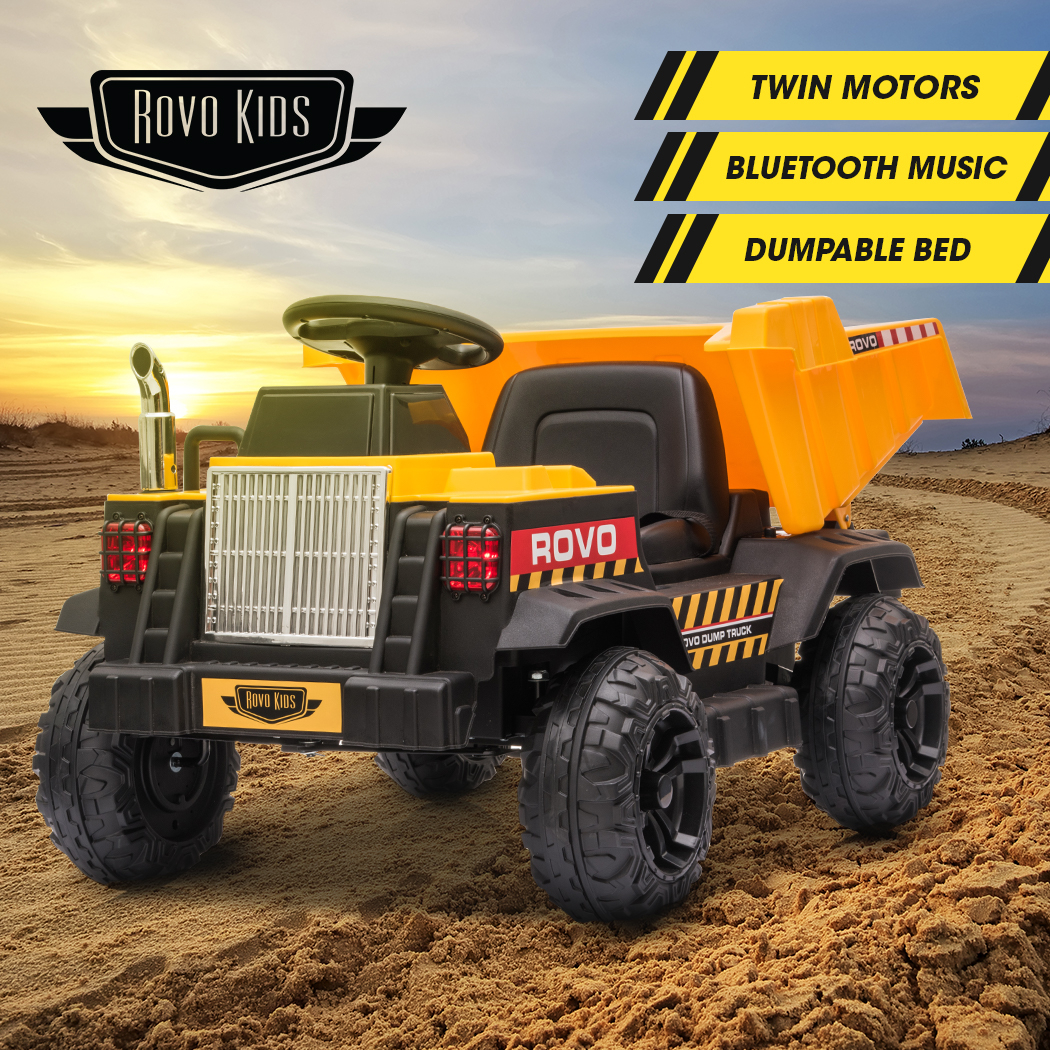 ROVO KIDS Electric Ride On Toy Dump Truck with Bluetooth Music - Yellow