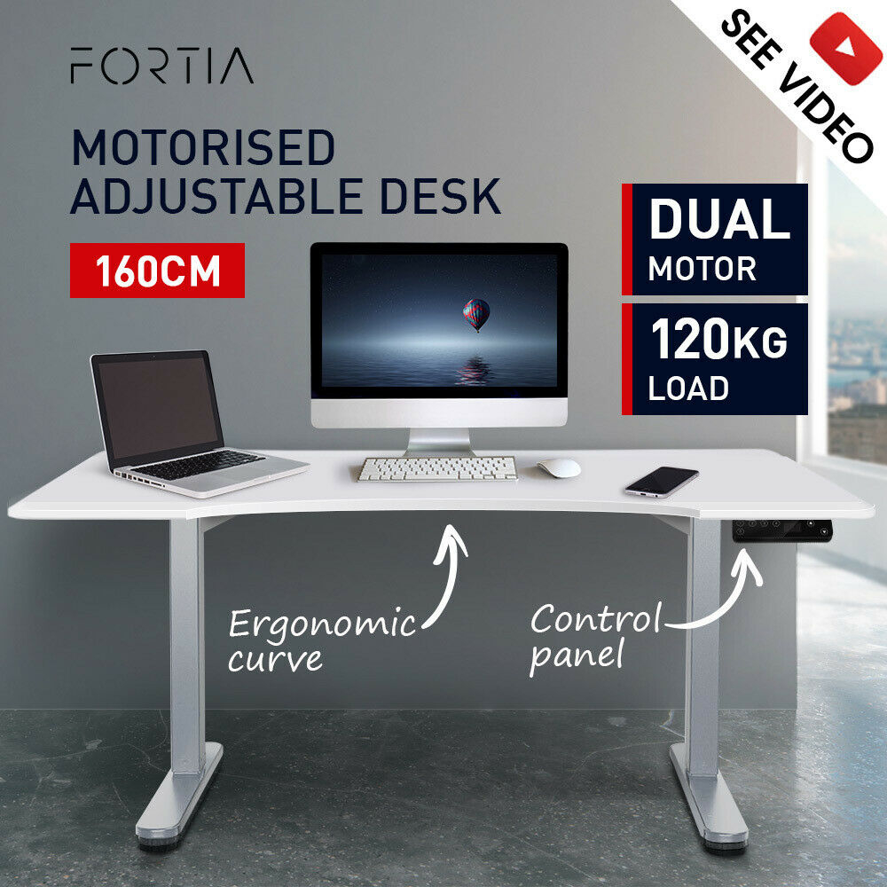 Fortia Height Adjustable Standing Desk Electric Motorised Sit Stand Up Office 160cm WT