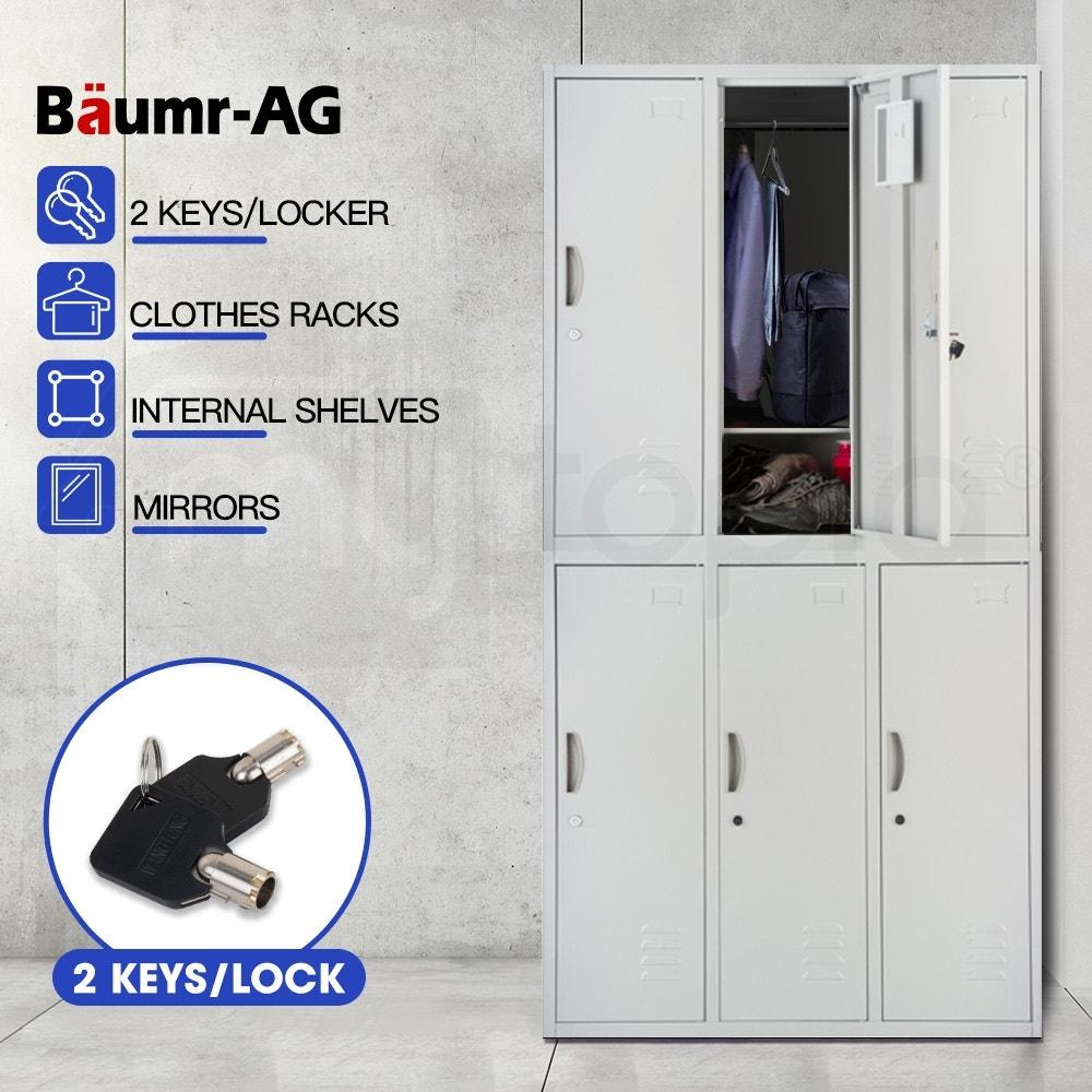 Baumr-AG 6-Door Steel Storage Locker Metal Cabinet Gym Office School Home Shed Grey