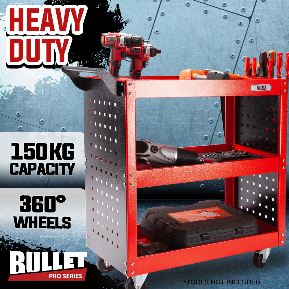 PRE-ORDER BULLET 3-Tier Storage Metal Rolling Steel Trolley Cart