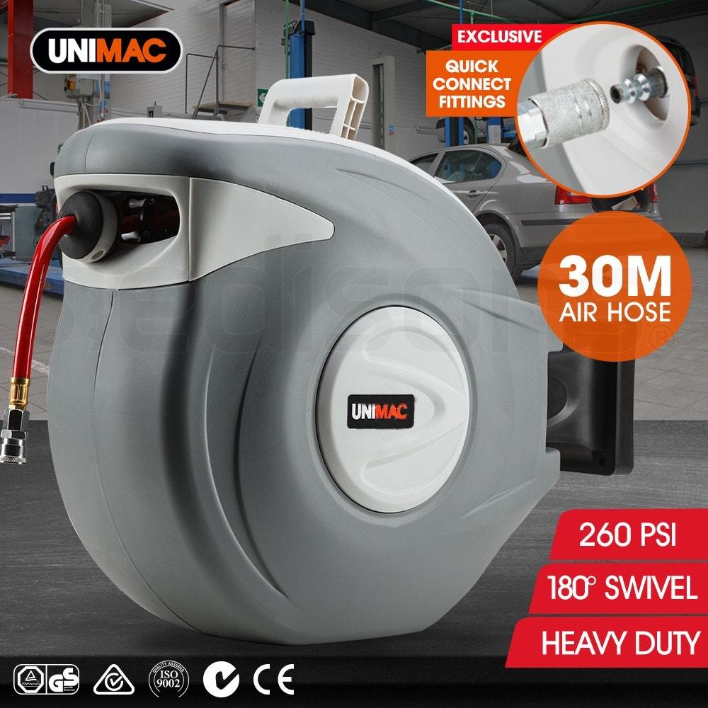 UNIMAC 30m Retractable Air Hose Reel Compressor Wall Mounted Auto Rewind