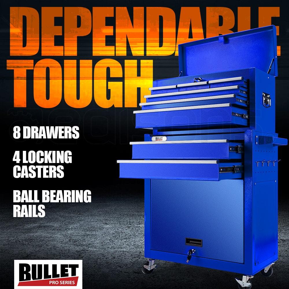 BULLET 8 Drawer Tool Box Cabinet Chest Storage Toolbox Garage Organiser Set - Blue
